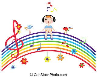 Rainbow with sings boy