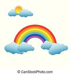 Rainbow with Sun and Clouds on white background