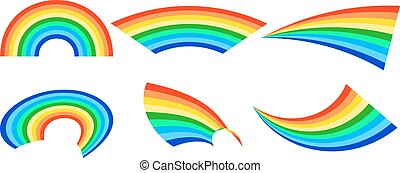 Rainbows in different shape realistic set on white background isolated vector