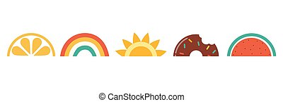 rainbows., olá, bandeira, desenho, vetorial, verão, melancia, sol, donut, ilustração