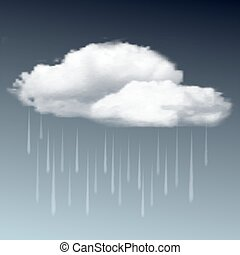 Raincloud and rain in the dark sky - Weather icon -...
