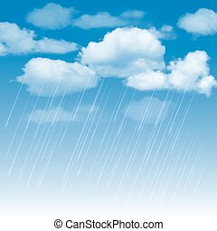 Rainclouds and rain in the blue sky - Summer background with...
