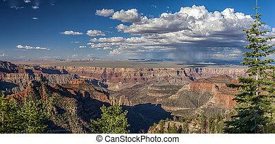 rainclouds, encima, de par en par, magnífico, paisaje, cañón