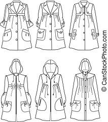 Raincoat - Vector illustration of women's raincoats