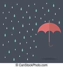 raindrop background with red umbrella