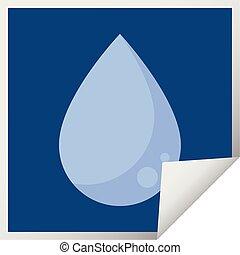 raindrop graphic square sticker - raindrop graphic vector...