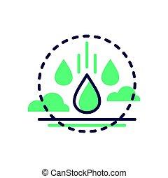 raindrop, -, moderní, vektor, jednoduché vedení, ikona