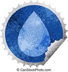 raindrop round sticker stamp - raindrop graphic vector...