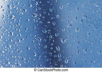 raindrops 07 - raindrops at a window - blue background