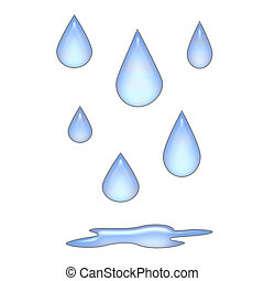 raindrops 3d - raindrops falling on blank background with...