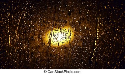 Raindrops at nighttime.