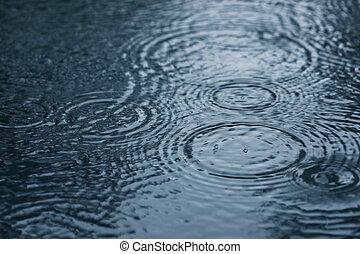 Raindrops - Close-up image of raindrops and rippled water ...
