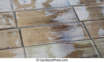 Raindrops fall on the flagstone sidewalk. The reflection of the sky and the blurry silhouettes on the wet surface.
