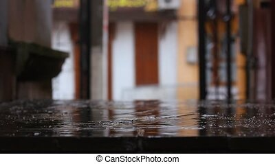 raindrops falling on the ground
