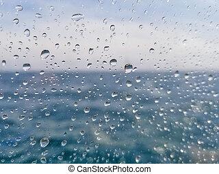 raindrops, finestra, macro