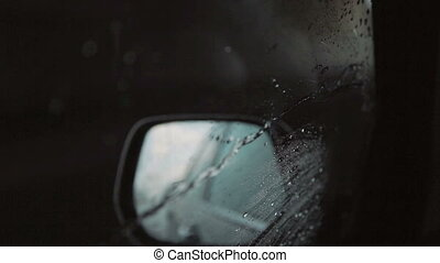 Raindrops in a side window