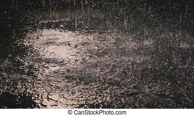 Raindrops in the dark in the lantern light 2