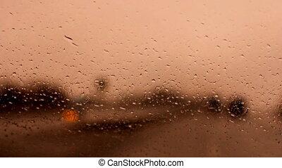 raindrops on a car windshield b