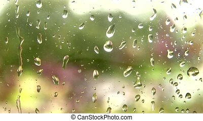 Raindrops on a window - Focused raindrops on a window pane...