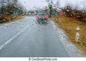 raindrops on car glass, wet asphalt, rain on glass, drive on highway in heavy rain