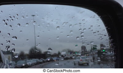 Raindrops on car mirror