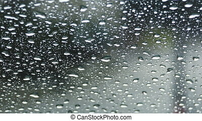 Raindrops on front glass of car
