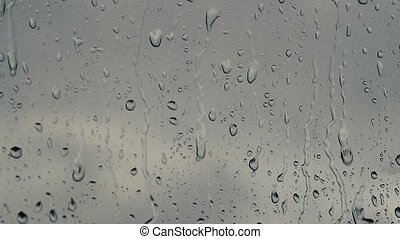 Raindrops on glass slow motion