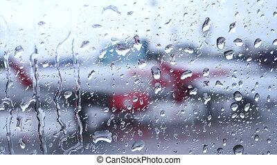 Raindrops on the air plane window
