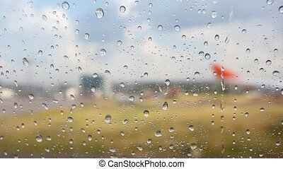 Raindrops on the Airport Window. HD. 1920x1080