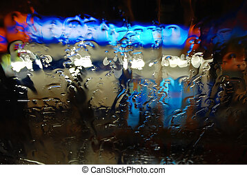 Raindrops on the Windshield at Night