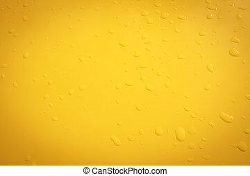 raindrops on the yellow metal