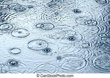 Raindrops - Rain drops in the water