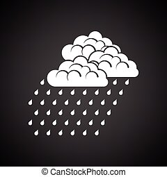 Rainfall icon. Black background with white. Vector...
