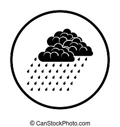 Rainfall icon. Thin circle design. Vector illustration.