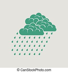 Rainfall icon. Gray background with green. Vector...