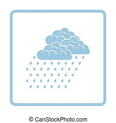 Rainfall icon. Blue frame design. Vector illustration.