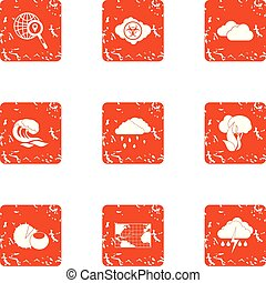 Rainfall icons set, grunge style - Rainfall icons set....
