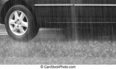 Rainfall in the city. Black car on wet asphalt. Video...
