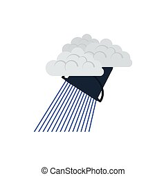 Rainfall like from bucket icon. Flat color design. Vector...