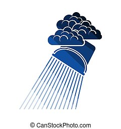Rainfall Like From Bucket Icon. Flat Color Ladder Design....