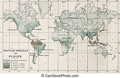 Rainfall - World rainfall map. By Paul Vidal de Lablache,...