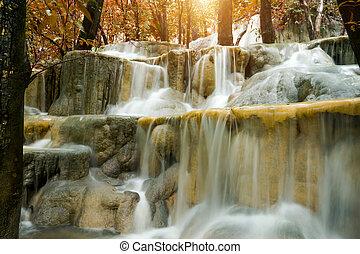 rainforest, calcaire, thailand., chute eau