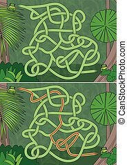 Rainforest maze for kids with a solution