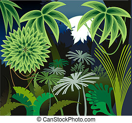 Rainforest night - Decorative image of moonrise in the...