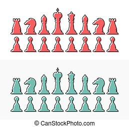 rainha, apartamento, rei, esboço, penhor, silhouettes., cobrança, cavaleiro, desenho, xadrez, bispo, rook