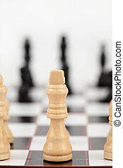 rainha branca, ficar, em, a, chessboard