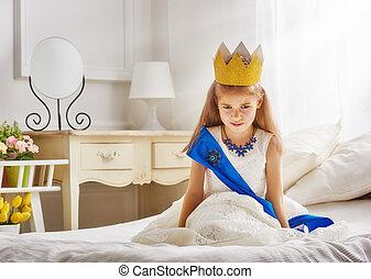 rainha, em, coroa ouro