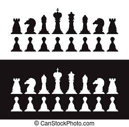 rainha, rei, penhor, silhouettes., isolado, cobrança, cavaleiro, pretas, xadrez, bispo, rook, branca