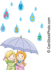 Raining ABC's and 123's - Illustration of Kids under an...