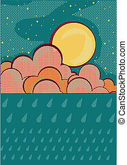 Raining background.Retro sky and clouds with grunge elements